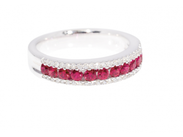18k Ruby & Diamond Eternity Band Ring by Spark Creations