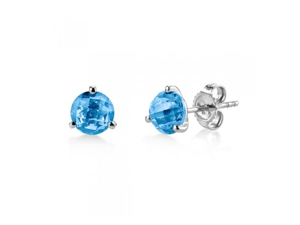 14kwg Martini Blue Topaz Studs by Stanton Color