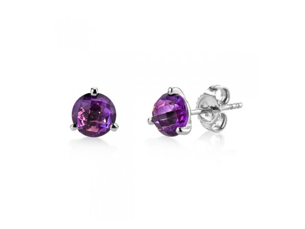 14kwg Martini Amethyst Studs by Stanton Color