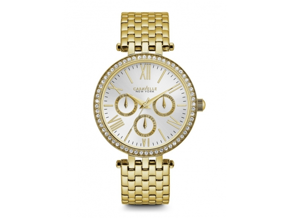 Ladies Caravelle Goldtone CZ Watch by Bulova