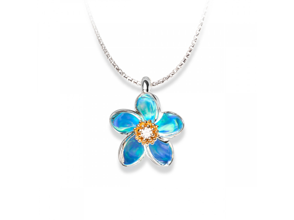 14kyg and Sterling Silver Diamond Plumeria Pendant by Galatea