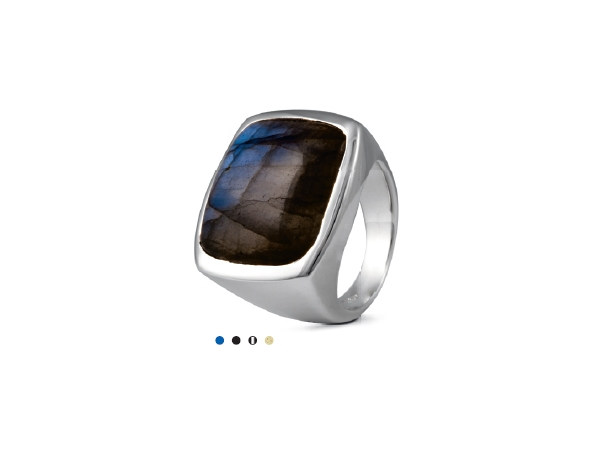 Sterling Bold Square Ring w/ Labradorite by Metalsmiths Sterling