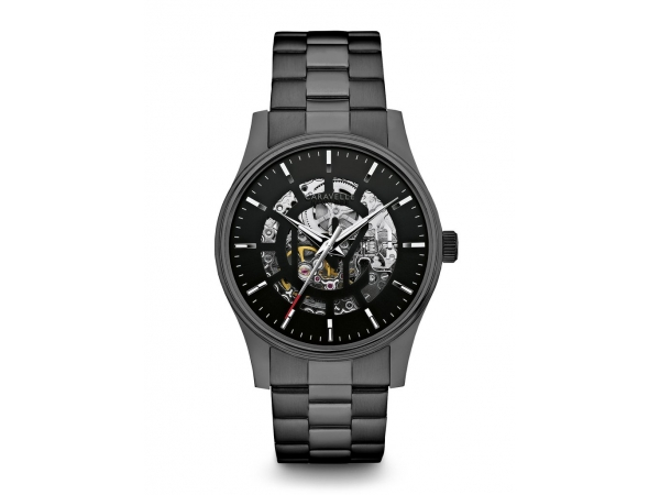 Black Stainless Steel Caravelle Skeleton Watch by Bulova