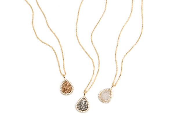 18k Gold Plated Druzy and CZ Pendant With Chain by Marcia Moran