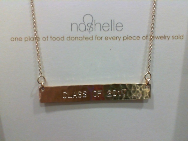 Goldfilled Identity Bar Necklace (Class of 2017) by Nashelle