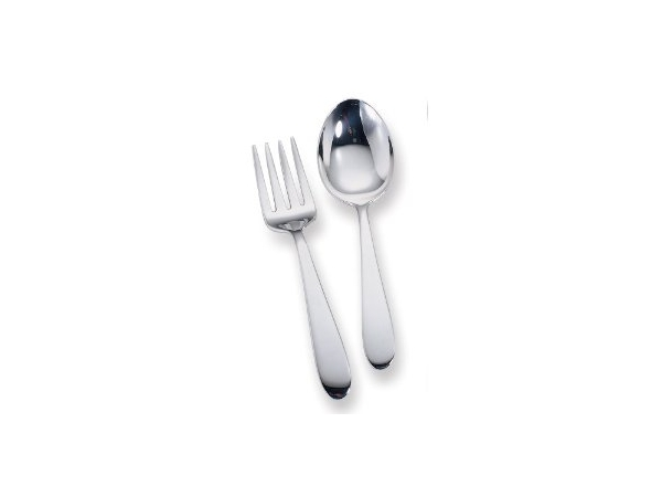 Plain Sterling Silver Baby Spoon And Fork Set